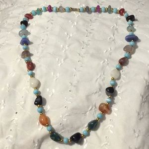 """Polished stone necklace about 12.5"""""""